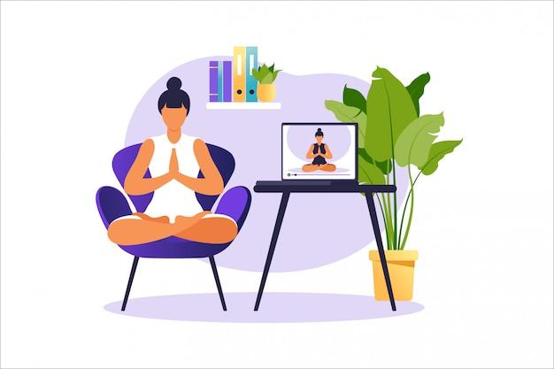 Joga online koncepcja ze zdrową kobietą robi ćwiczenia jogi w domu z instruktorem online. wellness i zdrowy styl życia w domu. kobieta robi ćwiczenia jogi. ilustracja.