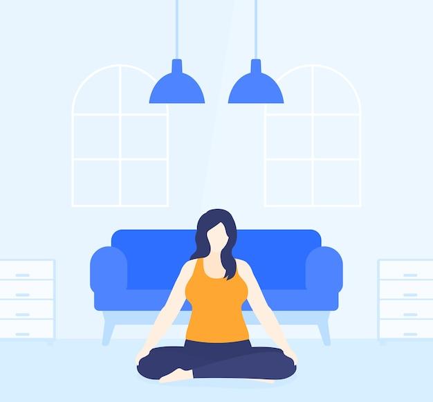 Joga, plus size kobieta medytuje w domu