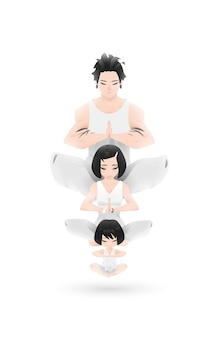 Joga rodzinne projektowanie znaków w atmosferze zen