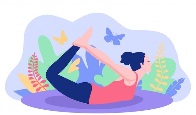 Joga stanowią banner. postacie kobiety ćwiczą jogę koncepcji dobrego zdrowia. kobiety postury joga z roślinności tłem. ilustracja.