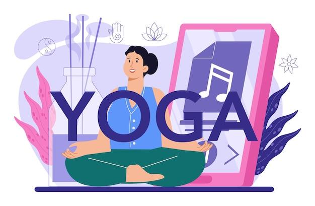Joga typograficznego nagłówka. asana lub ćwiczenia dla mężczyzn i kobiet. zdrowie fizyczne i psychiczne. relaks ciała i medytacja na zewnątrz. ilustracja wektorowa na białym tle