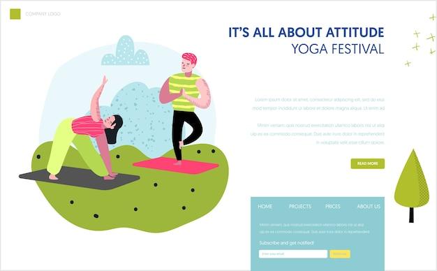 Joga w szablonie strony docelowej parku. ćwiczenia na świeżym powietrzu aktywne postacie ludzi medytujących, jogi dla strony internetowej lub strony internetowej. łatwa edycja. ilustracji wektorowych