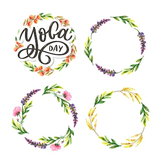 Joga z literami. tło międzynarodowy dzień jogi. projekt plakatu, koszulek, toreb. typografia jogi. elementy do etykiet, logo, ikon, odznak.