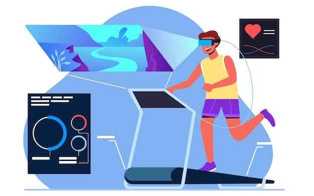 Jogging na bieżni w wirtualnej rzeczywistości podczas kwarantanny, koncepcja projektowania nowoczesnych płaskich ilustracji dla stron internetowych lub tła