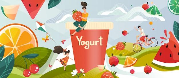 Jogurt z letnimi owocowymi wspomnieniami pije na zielonej łące, kwiatach i owocach i jagodach, ilustruje napój mleczny dla dzieci.