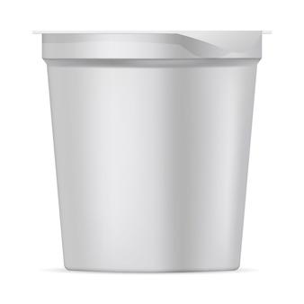Jogurt z pokrywką z okrągłego białego matowego plastiku