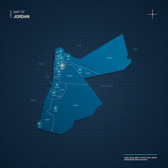 Jordania mapa ilustracja z niebieskimi punktami światła neonowego