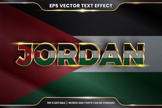 Jordania z flagą narodową kraju, edytowalny efekt tekstowy ze złotym kolorem