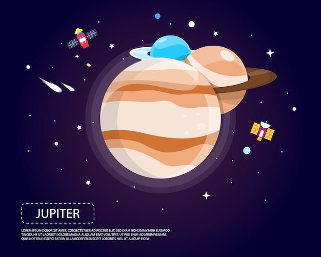 Jowisz saturn i neptun układu słonecznego ilustracyjny projekt