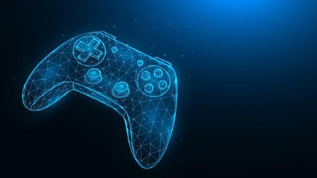 Joystick do gier wideo low poly wielokątna ilustracja kontrolera gier