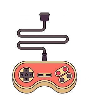 Joystick na białym tle. retro gamepad. stary kontroler gier wideo