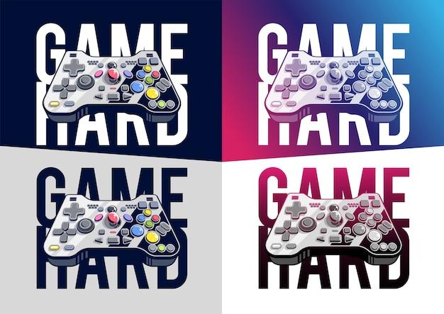 Joystick z wieloma przyciskami, ilustracja gamepada. kreatywny druk. kilka opcji kolorystycznych.