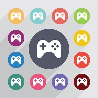 Joystick, zestaw ikon płaski. okrągłe kolorowe guziki. wektor
