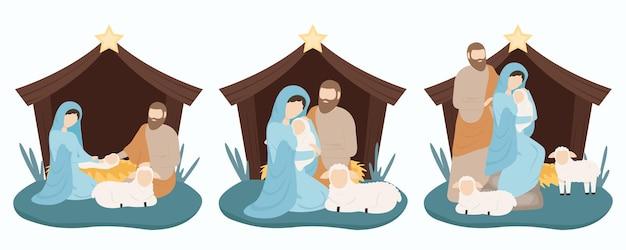 Józef i maryja z jezusem rodzą się w stajni w żłobie