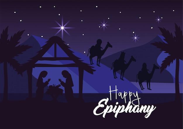 Józef i maryja z jezusem w żłóbku i królami magów