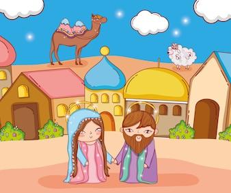Józef i Maryja z wielbłądem i owieczką w mieście