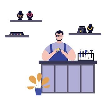 Jubiler postać z kreskówki człowieka podczas oceny klejnotów w warsztacie. pracuj z drogocennymi klejnotami i złotymi metalami, płasko na białym tle.