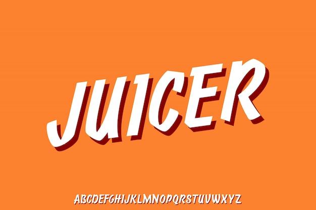 Juicer, nowoczesny zestaw liter alfabetu