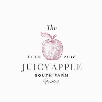 Juicy apple south farm fruits. streszczenie znak, symbol lub szablon logo. apple with leaf sillhouette szkic z elegancką retro typografią. godło vintage luksus.