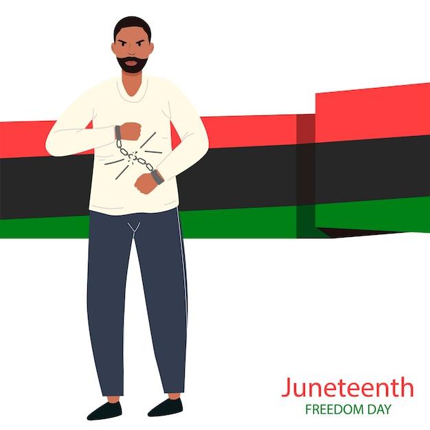 Juneteenth dzień wolności afroamerykanin facet zrywa kajdany dzień wyzwolenia z niewoli czerwiec dzień niepodległości afrykańsko-amerykański dzień niepodległości