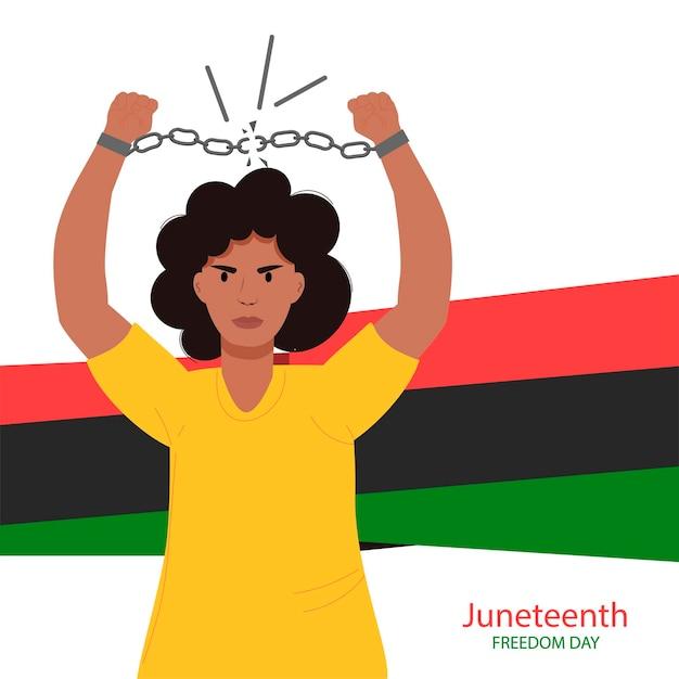 Juneteenth dzień wolności afroamerykanki zrywa łańcuchy dzień wyzwolenia z niewoli czerwiec dzień niepodległości afrykański dzień niepodległości