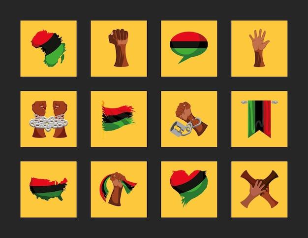 Juneteenth obchody mapa ręce flagi