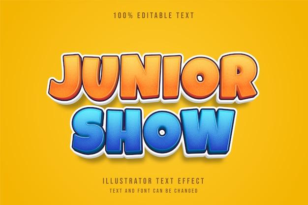 Junior show, 3d edytowalny efekt tekstowy niebieski gradacja żółty komiks styl