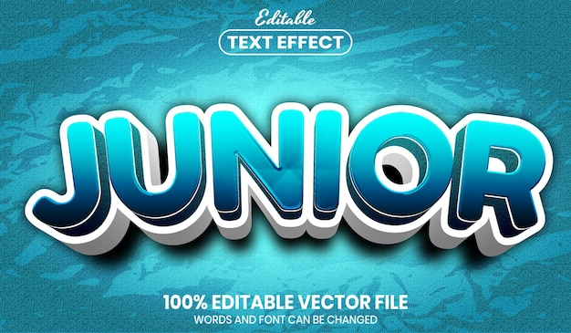 Junior tekst, edytowalny efekt tekstowy w stylu czcionki