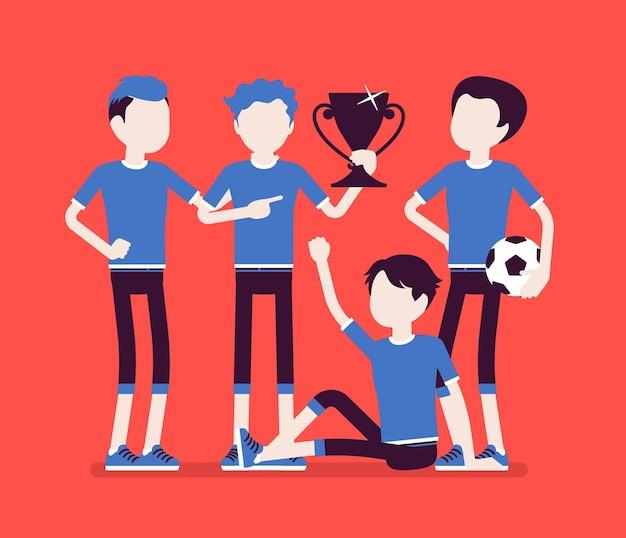 Juniorska piłka nożna, zwycięzca drużyny piłkarzy. grupa chłopców w mundurach po meczu, zawodowy klub piłkarski z nagrodą, szczęśliwi faceci cieszą się osiągnięciami sportowymi. ilustracja wektorowa, postacie bez twarzy