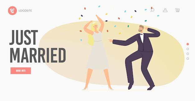 Just married bride and groom postacie taniec landing page szablon. para wykonuje taniec weselny podczas uroczystości. ceremonia małżeństwa, zabawa męża i żony. ilustracja wektorowa kreskówka ludzie