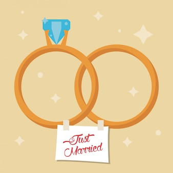 Just married rings star background