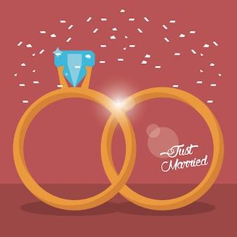 Just married złote pierścienie