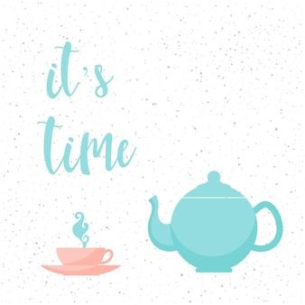 Już czas. odręczny napis na białym tle. doodle ręcznie robiony cytat i zestaw do herbaty na projekt koszulki, karty, zaproszenia, strony książki, plakatu, broszur, albumu, albumu, menu itp