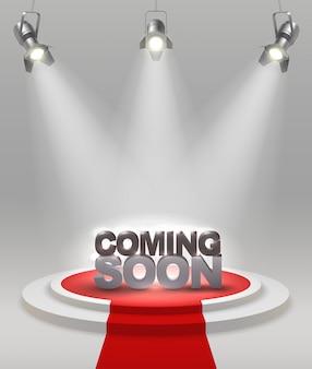 Już wkrótce kolorowa kompozycja na scenie z czerwonym dywanem, który reflektory oświetlają ilustracje wektorowe