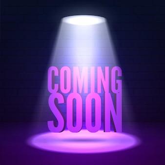 Już wkrótce oświetlenie. efekty połysku na ciemnym tle ściany grunge. jasne oświetlenie z reflektorami i efektami poświaty