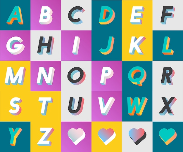 K kolekcji v zestaw alfabetu i