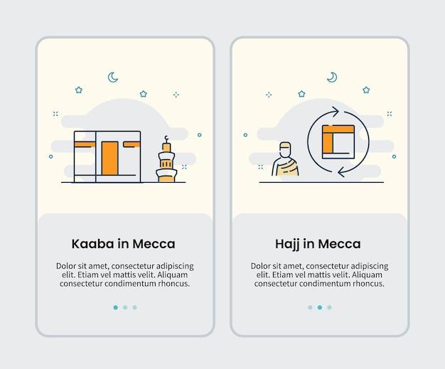 Kaaba w mekce i hadżdż w mekce ikony onboarding szablon dla mobilnego interfejsu użytkownika aplikacji interfejsu aplikacji ilustracji wektorowych