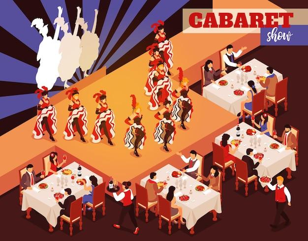 Kabaret pokazuje izometryczne wnętrze restauracji z ludźmi siedzącymi przy stołach i patrzącymi na baleriny tańczące kankan