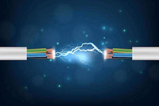 Kabel elektryczny. oświetlenie połączenia świecące abstrakcyjne tło koncepcja cyber internet przewód optyczny obraz telekomunikacyjny.