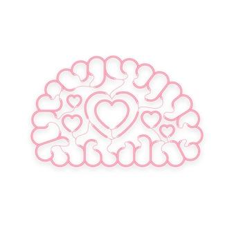 Kabel elektryczny przewód mózg różowy kolor z symbolem serca