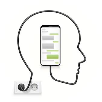 Kabel głowy podłączony do telefonu. ilustracja wektorowa