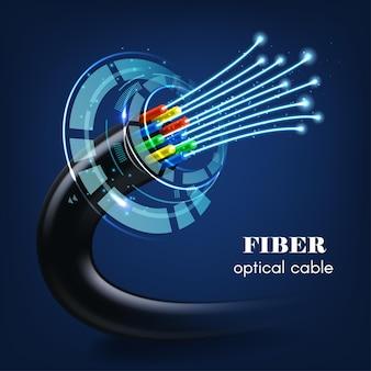 Kabel lub drut ze świecącymi światłowodami 3d technologii przyszłości