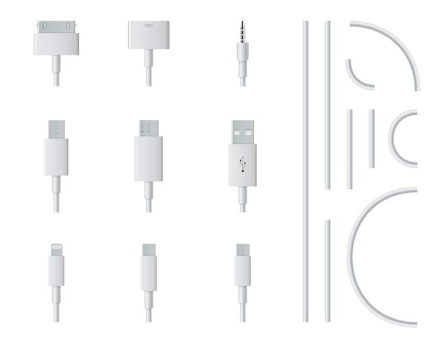Kabel wtyczki ładowania usb telefonu komórkowego, smartfon.