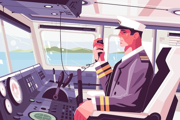 Kabina kapitańska na statku z mężczyzną rozmawiającym z pasażerami