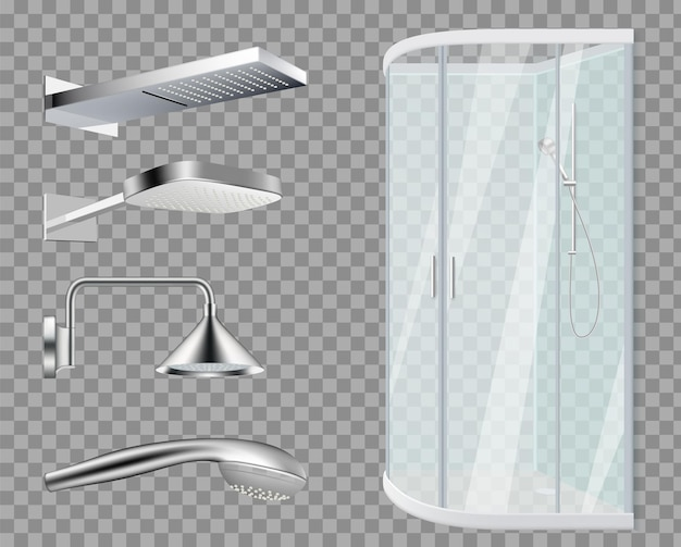 Kabina prysznicowa. głowice prysznicowe, realistyczne elementy łazienki na przezroczystym tle.