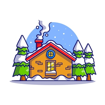 Kabina śnieżna w zima kreskówka wektor ikona ilustracja. budynek wakacje ikona koncepcja białym tle premium wektor. płaski styl kreskówki