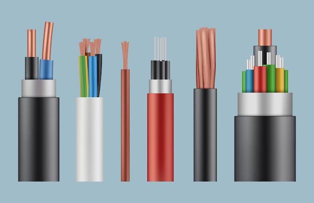 Kable optyczne. konstrukcja przewodu światłowodowego realistyczny szablon linii elektrycznej wikliny.