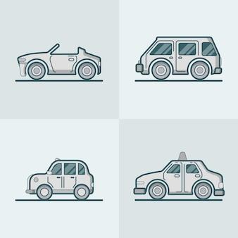 Kabriolet kabriolet kabriolet samochód sportowy van samochód taxi kabina lineart