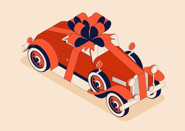 Kabriolet retro z ogromną kokardą. samochód zabytkowy w kolorze czerwonym. kartka z życzeniami na wakacje, takie jak urodziny