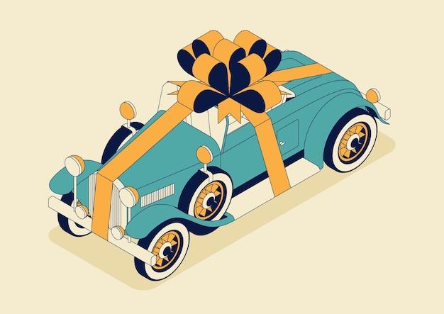 Kabriolet w stylu retro z ogromną kokardą. zabytkowe auto w kolorze niebieskim.